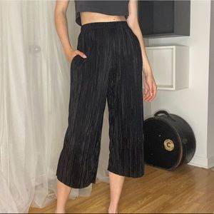 High Waisted Culotte Plisse Trousers